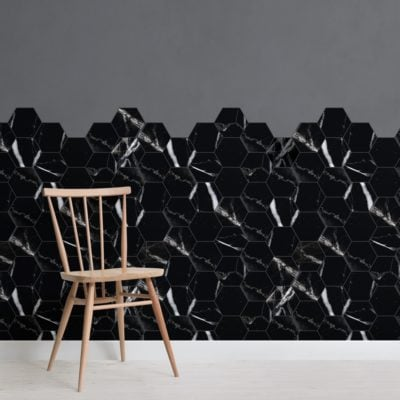 black marble tile effect geometric wallpaper mural
