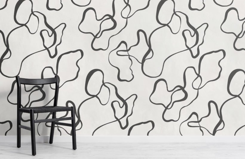 black modern abstract scribble drawing wallpaper mural