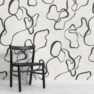 black modern abstract scribble drawing wallpaper mural