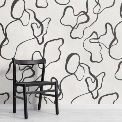 Black Modern Abstract Scribble Drawing Wallpaper Mural Image