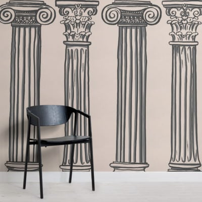 black & neutral ancient greek columns wallpaper mural