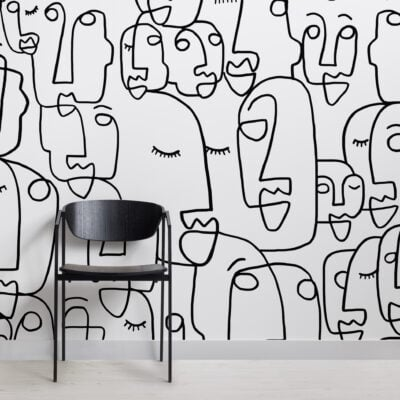 black white abstract lines faces wallpaper mural-Square
