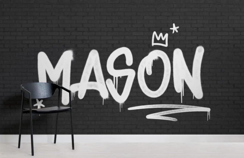 black & white brick personalised graffiti wallpaper mural