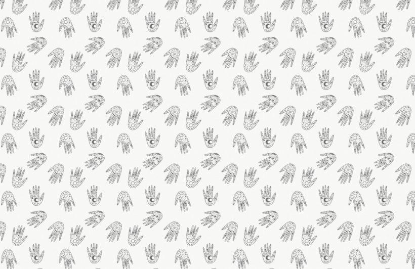 black & white cosmic symbols hands repeat pattern wallpaper