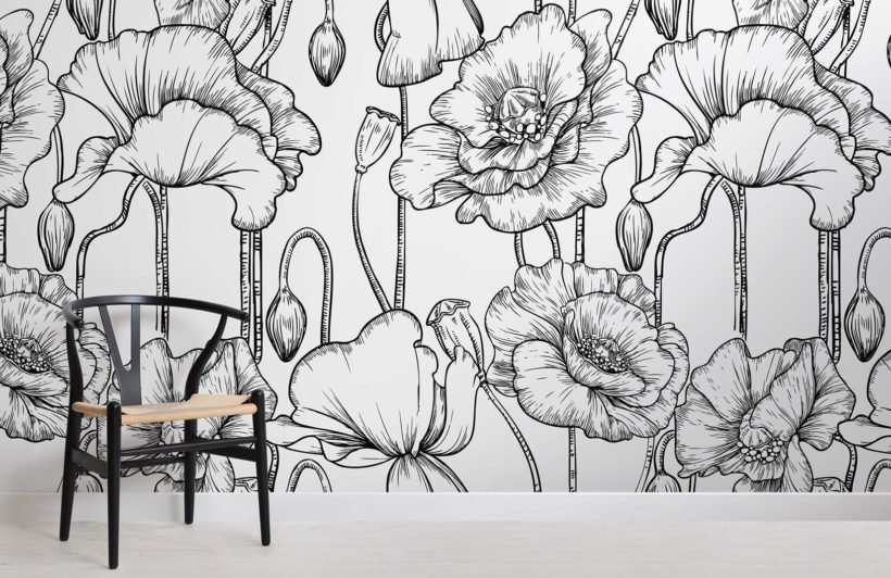 black-white-illustrated-flowers-room-wall-murals