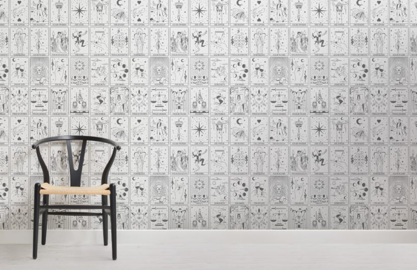 black & white tarot card pattern wallpaper mural