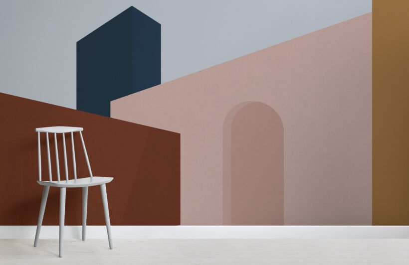 blocky-abstract-architecture-wallpaper-mural