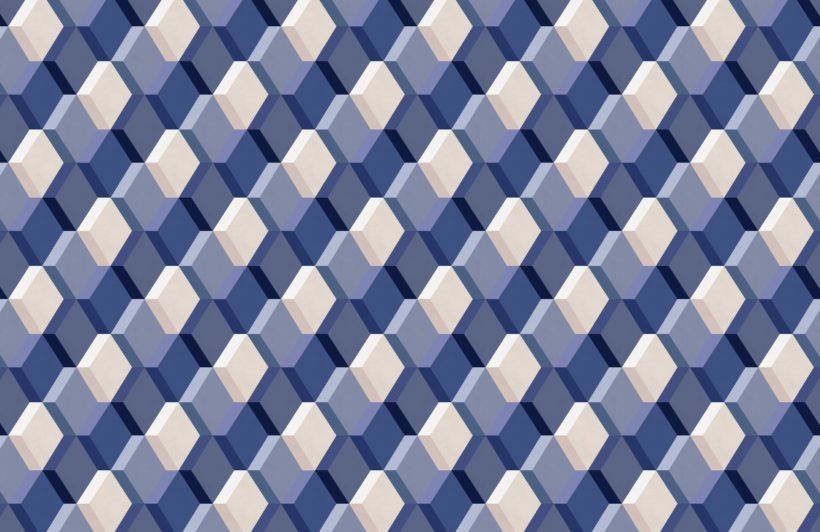 blue 3D illusion tile effect repeat pattern wallpaper
