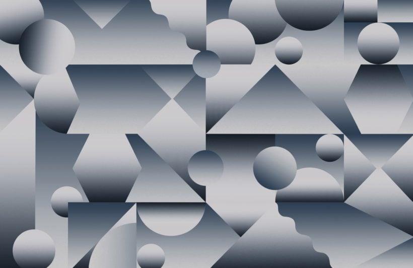 blue abstract shape gradient wallpaper mural