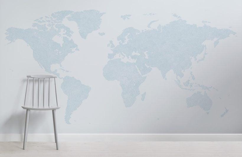 blue abstract vector world map wallpaper mural