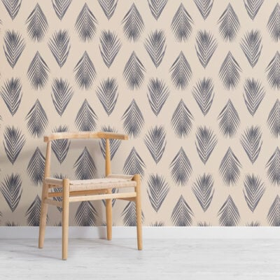 blue and cream palm leaf repeat pattern wallpaper