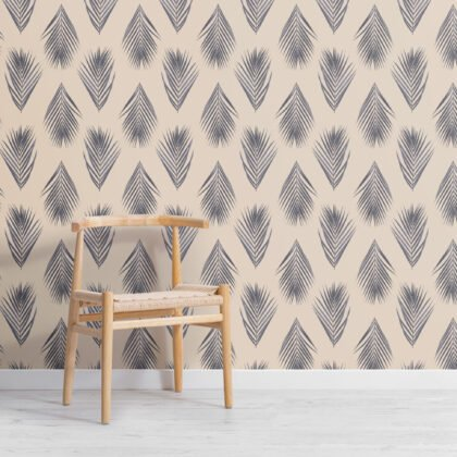 Blue and Cream Palm Leaf Repeat Pattern Wallpaper Image