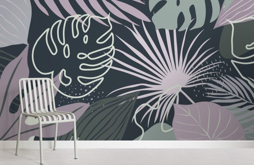 blue and green abstract leaves tropical wallpaper mural