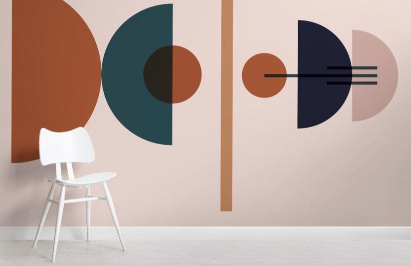 blue and neutral mid century modern geometric wallpaper mural