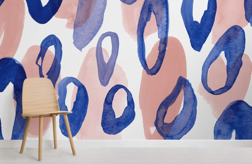 blue and peach watercolor leopard print wallpaper mural