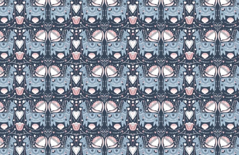 blue and pink cute folk llama pattern wallpaper mural