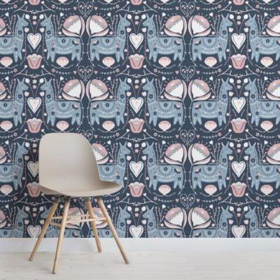 blue and pink cute folk llama pattern wallpaper mural