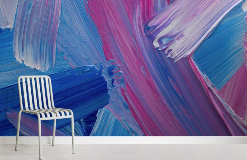blue and pink mixed paint brush effect wallpaper mural
