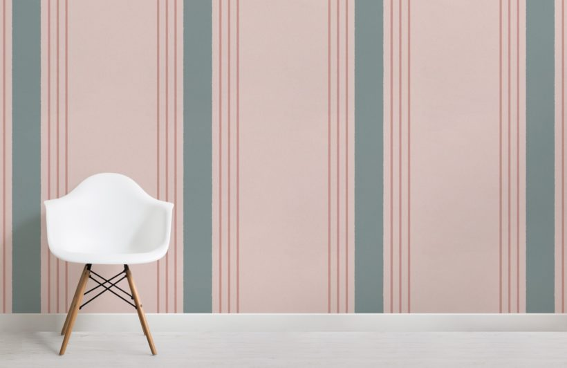 blue and pink pinstripe wallpaper mural