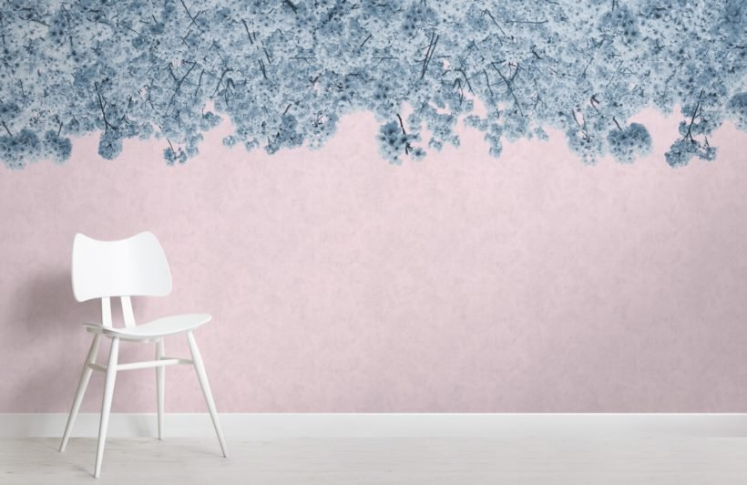 blue and pink sakura cherry blossom tree wallpaper mural