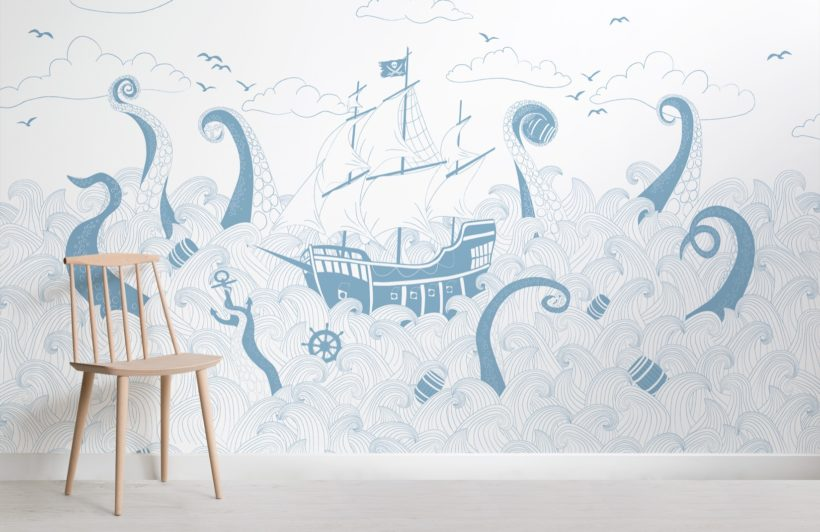 blue and white pirate ship wallpaper mural