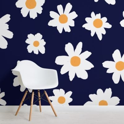 blue and white retro daisy floral wallpaper mural