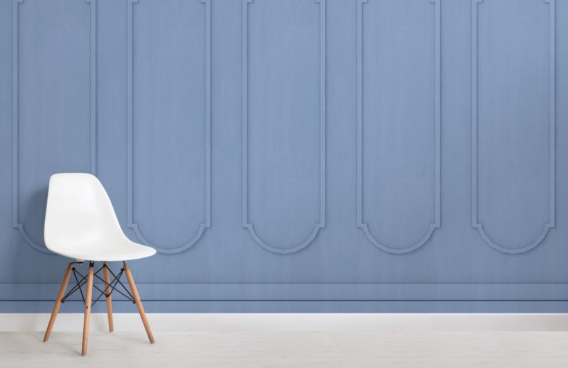 blue arched georgian wood panel effect wallpaper mural