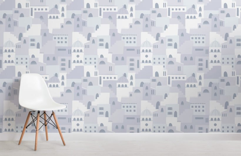 blue architecture house pattern wallpaper mural