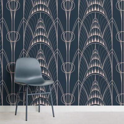 blue-art-deco-chrysler-architectural-pattern-wallpapr-mural