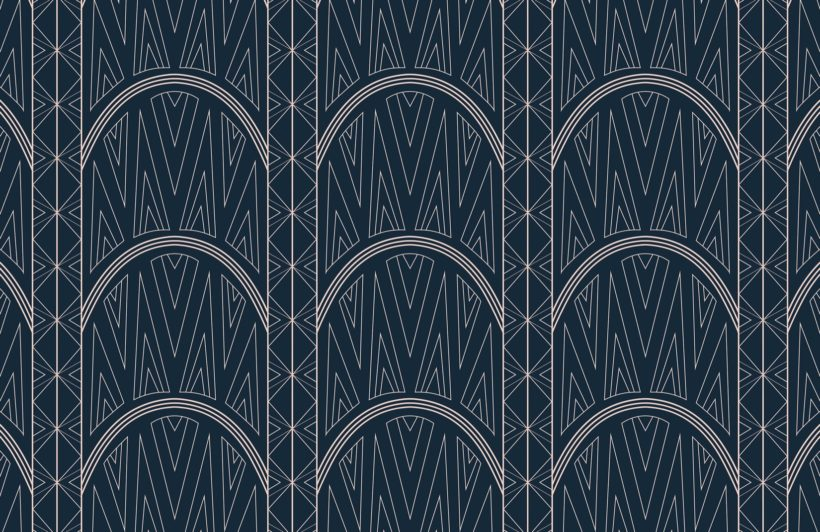 blue-art-deco-chrysler-building-pattern-wallpaper-mural-Plain