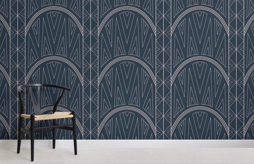 blue-art-deco-chrysler-building-pattern-wallpaper-mural-Room