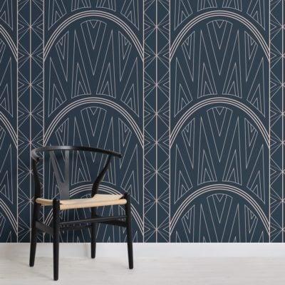 blue-art-deco-chrysler-building-pattern-wallpaper-mural-Square
