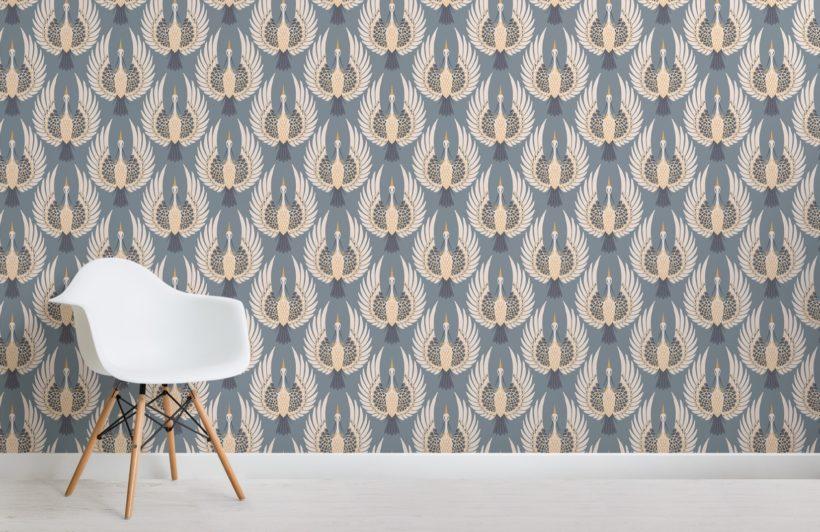 blue art deco crane pattern wallpaper mural