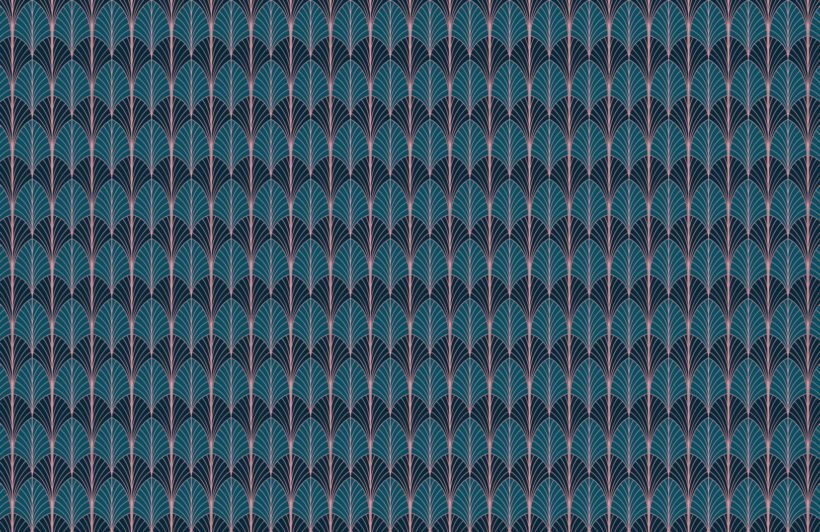 blue art deco palm leaf pattern wallpaper mural