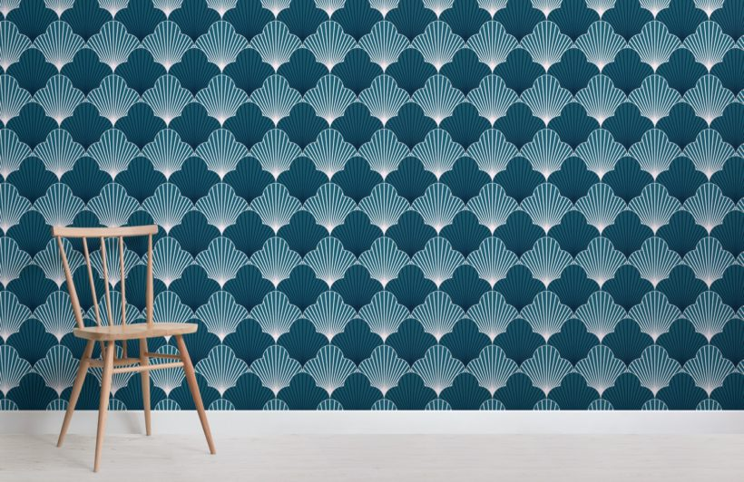 blue art deco scallop pattern wallpaper mural