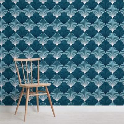 blue art deco scallop pattern wallpaper mural
