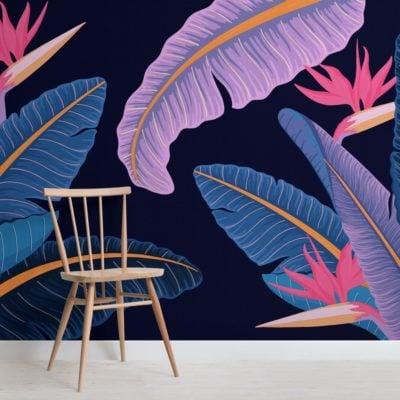 blue-banana-leaf-bird-of-paradise-tropical-wallpaper-mural