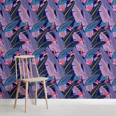 blue-banana-leaf-pattern-tropical-wallpaper-mural