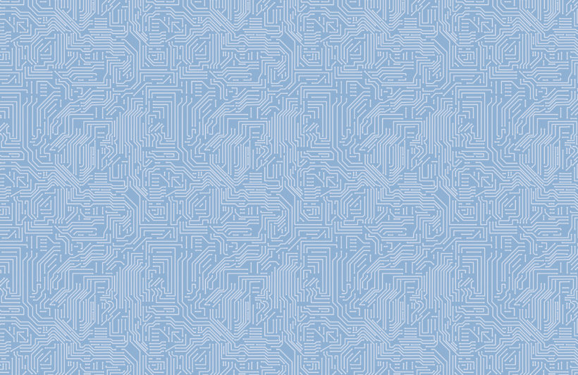 blue computer circuit board pattern wallpaper mural