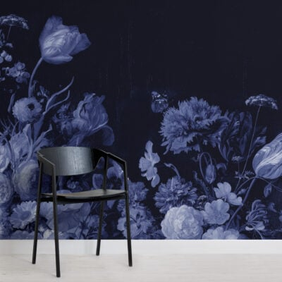 blue delft dark floral art painting wallpaper mural
