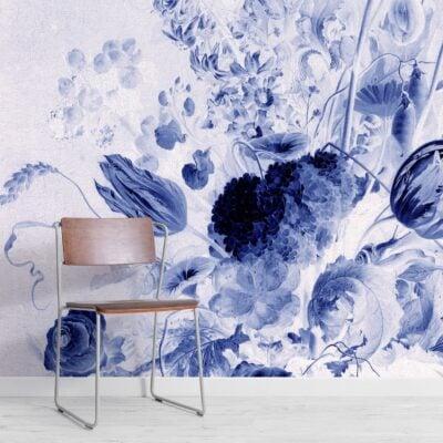 blue delft de heem floral wallpaper mural