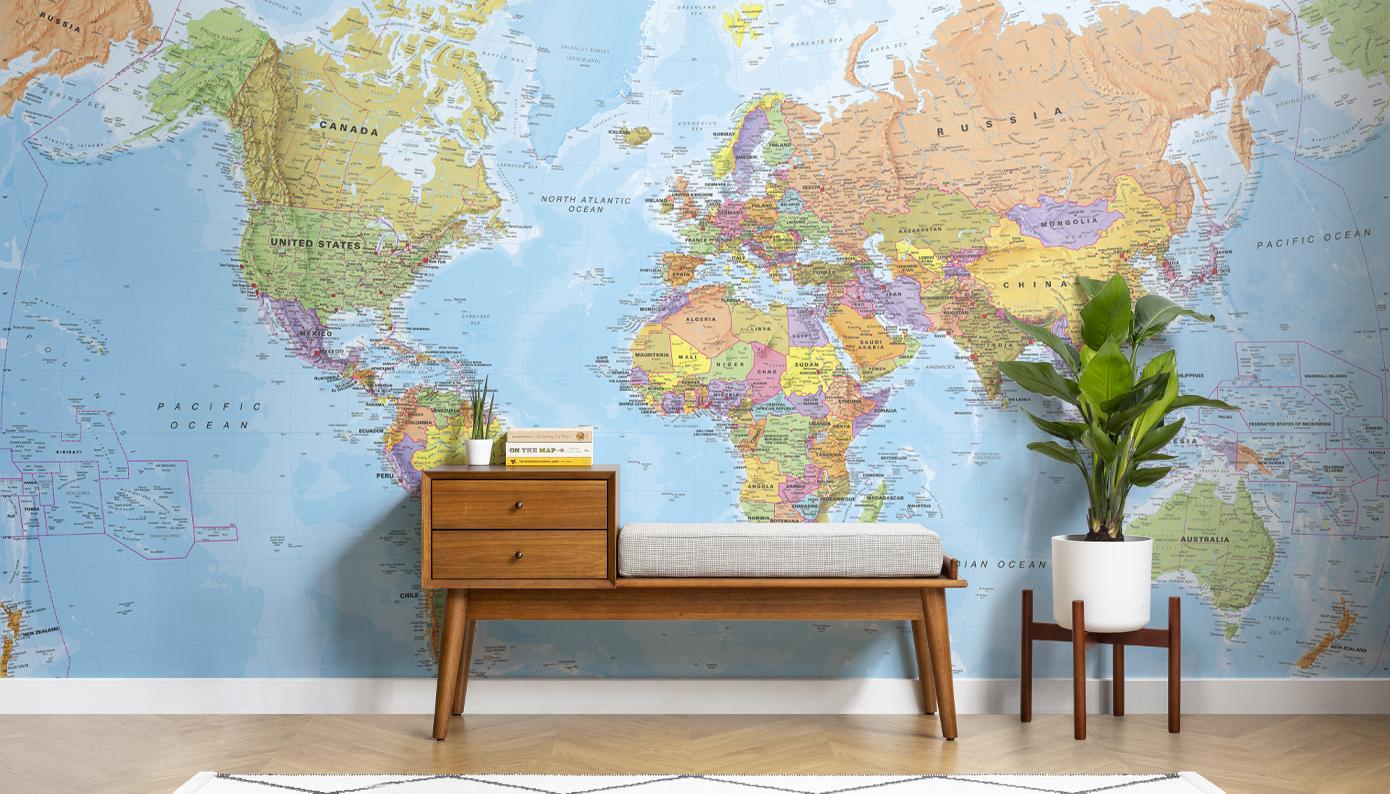 World Map Wallpaper Poster