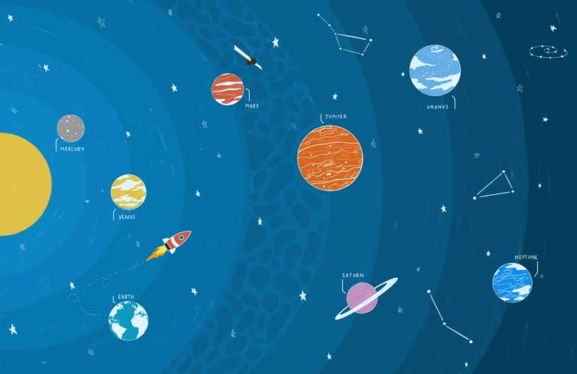 blue educational space planets and rocket wallpaper mural