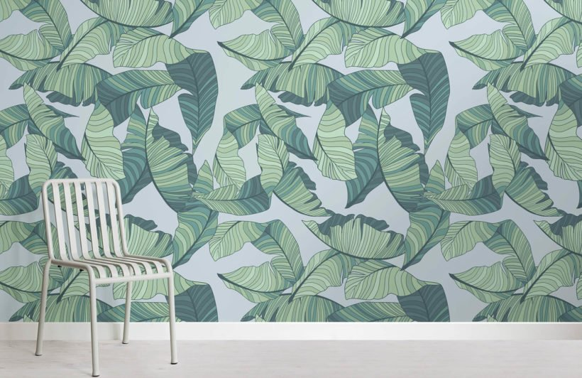 blue-green-tropical-leaf-design-room-wall-murals