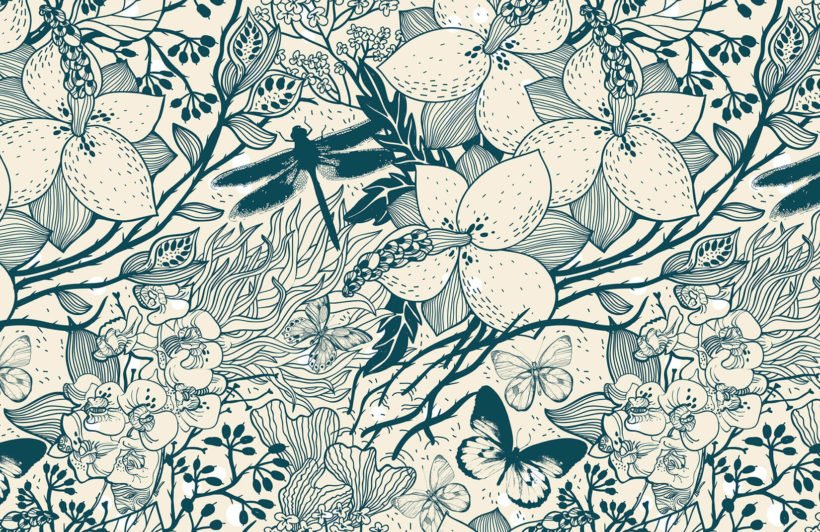 blue-insect-pattern-design-plain-wall-murals