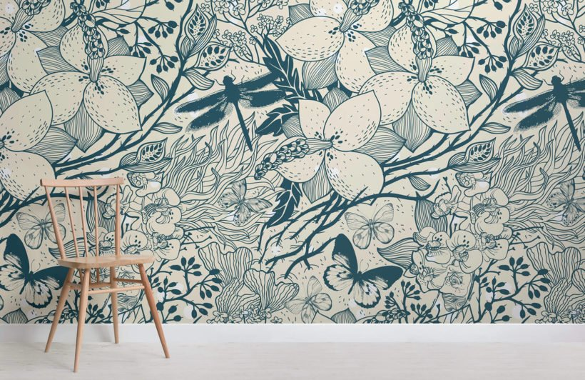 blue-insect-pattern-design-room-wall-murals