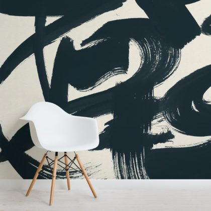 Blue Japanese Calligraphy Painted Wallpaper Mural Image