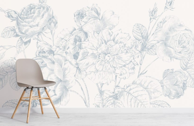 blue large illustrated roses wallpaper mural