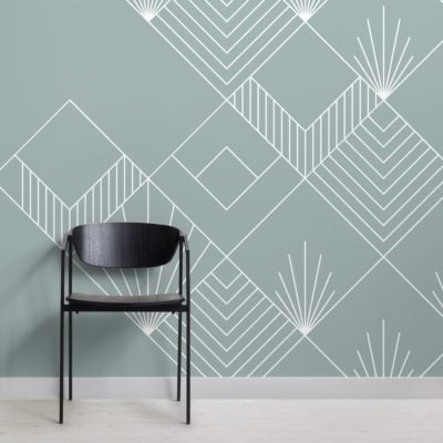 blue line and squares art deco wallpaper mural