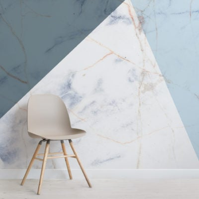 blue marble effect geometic wallpaper mural-Square